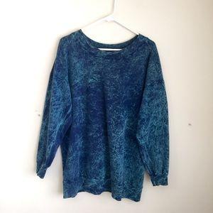 Sweaters - blue green teal tie dye tye die sweater x-large XL